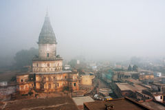 Morning fog around old hindu temple Royalty Free Stock Photography