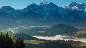 Morning fog in the Austrian Alps stock video