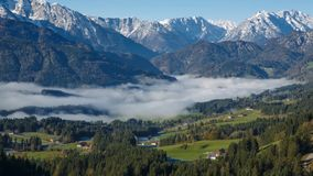 Morning fog in the Austrian Alps stock video footage