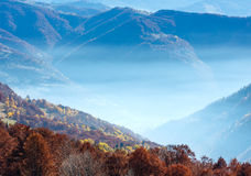 Morning fog in autumn Carpathian. Royalty Free Stock Image