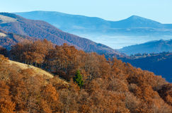 Morning fog in autumn Carpathian. Royalty Free Stock Photography