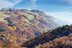 Morning fog in autumn Carpathian. Royalty Free Stock Photos