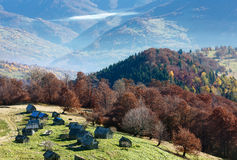 Morning fog in autumn Carpathian. Stock Photography