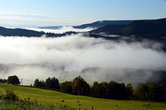 Morning fog in autumn landscape norway Stock Photo