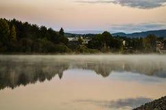 Morning fog in autumn landscape norway Stock Photos