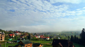 Morning fog. In the Carpathian mountains Stock Image