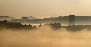 Morning fog in the city - Bratislava Royalty Free Stock Image
