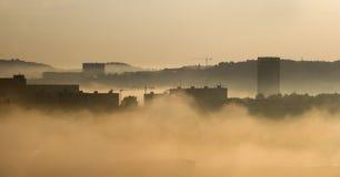 Morning fog in the city - Bratislava Royalty Free Stock Image