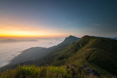 Morning and fog cover mountain at Doi Pha Tang. Sunrise in the morning and fog cover mountain at Doi Pha Tang viewpoint at Chiang Rai province , Thailand Stock Photos