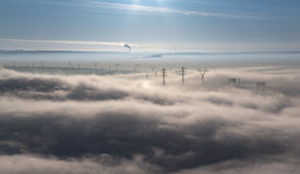 Morning fog covers the city. Stock Photos