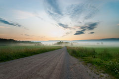 Morning fog in dalsland sweden Stock Images