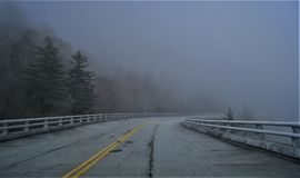 Morning Fog. Early morning fog on the Linn Cove Viaduct on the Blue Ridge Parkway in North Carolina Stock Photos