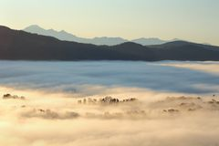 Morning Fog, Fraser Valley, British Columbia Stock Image