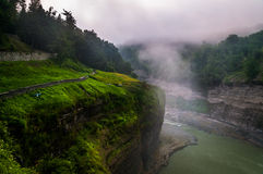 Morning fog in the gorge at Letchworth State Park, NY Royalty Free Stock Photography