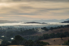 Morning fog in Goulburn River valley in Victoria, Australia Stock Image