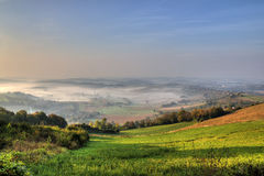 Morning fog in green valley Royalty Free Stock Photography