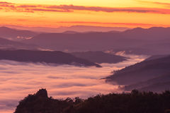 Morning fog on high hill landscape along the valley. Stock Photos