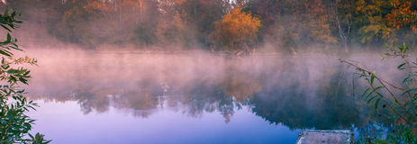 Morning fog on the lake Royalty Free Stock Photo