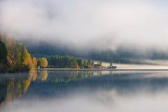 Morning fog at lake plansee Royalty Free Stock Photo