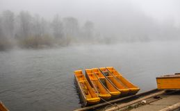 Morning fog and mist over Dunajec river stock image