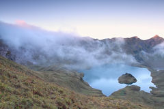Morning fog over alpine lake Schrecksee. Germany Stock Image