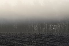 Morning fog over arable land Royalty Free Stock Image