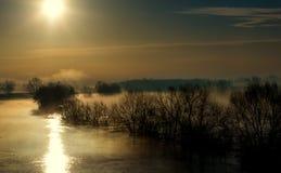Morning fog. Fog over floded area near river Sava Royalty Free Stock Photography