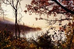 Morning fog over river in autumn Stock Photo