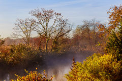 Morning fog over river in autumn Royalty Free Stock Photos
