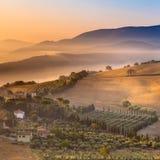 Morning Fog over Tuscany Landscape, Italy Stock Photos