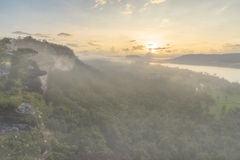 Morning fog. Pha taem.National park . in moning fog. Thailand Stock Image
