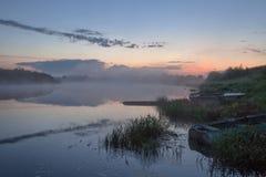 Morning fog. Fog on the morning river royalty free stock photo