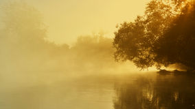 Morning fog on the river Stock Photo