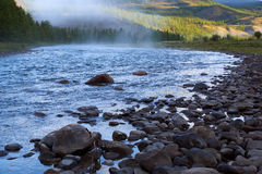 Morning fog on river in northern Mongolia Royalty Free Stock Photos