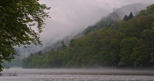 Morning fog on the river royalty free stock photo