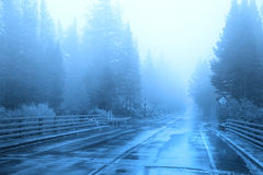 Morning fog on road Royalty Free Stock Images