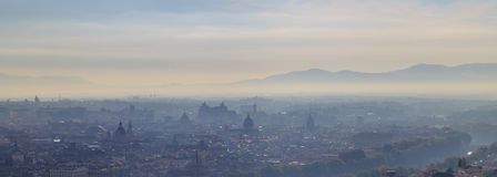 Morning fog in Rome. View from the dome of St. Peter Royalty Free Stock Photo