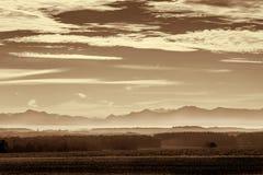 Morning fog in rural Bavaria, Germany Stock Photo