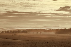 Morning fog in rural Bavaria, Germany Stock Photos