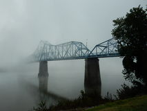 Morning Fog on the Russell, Kentucky bridge on the Ohio River. The Ironton–Russell Bridge opened in 1922 as the first highway bridge along the Ohio River royalty free stock photo