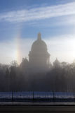 Morning fog during strong frosts on quay of the river of Neva an Stock Photo