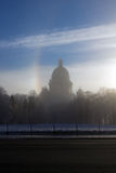 Morning fog during strong frosts on quay of the river of Neva an Stock Photos