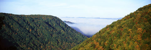 Morning fog at sunrise in autumn mountains of West Virginia in Babcock State Park stock photo