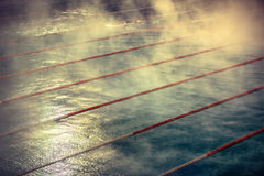 Morning fog at Swimming pool Royalty Free Stock Images