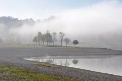 Morning fog, Ullibarri-Gamboa reservoir (Spain) Royalty Free Stock Image