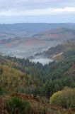 Morning fog on the valley. Autumn in Beaujolais (France Stock Photography