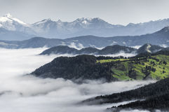 Morning fog in the valley, Dolomiti Stock Photos