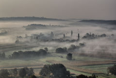Morning fog in the valley - sleepy hollow. Morning fog and haze in the valley - sleepy hollow Royalty Free Stock Photography