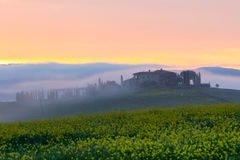 Morning fog view on farmhouse in Tuscany, Italy Stock Image
