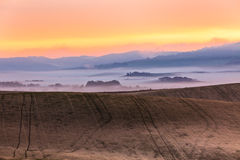 Morning fog view on farmland in Tuscany, Italy Stock Photography